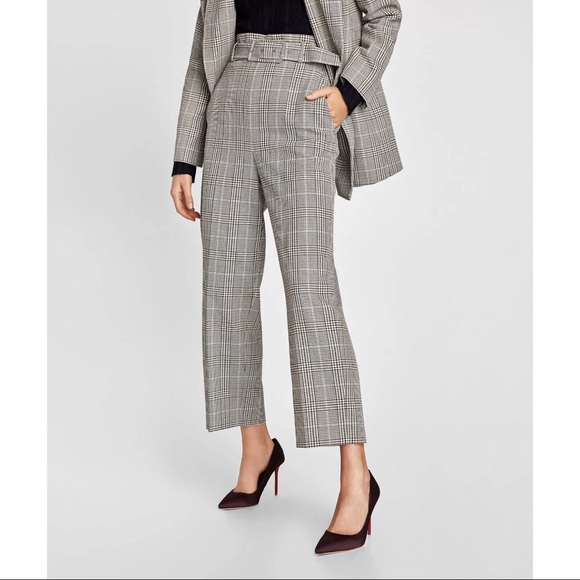 2be343f8 Zara Pants | Nwt Bloggers Fav Checked Trouser With Belt | Poshmark